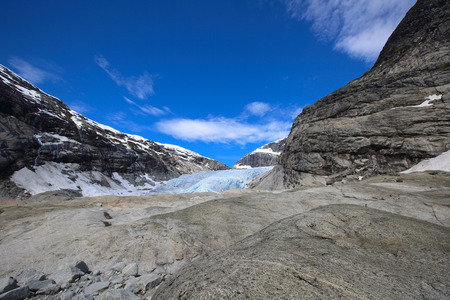jostedalsbreen: Nigardsbreen glacier in Jostedalsbreen national park near village of Gaupne in the Jostedalen valley, Luster, Sogn og Fjordane county, Norway Stock Photo