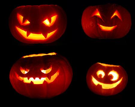 Set of Illuminated cute halloween pumpkin isolated on black background