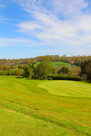 Beautiful french landscape with golf course in springtime