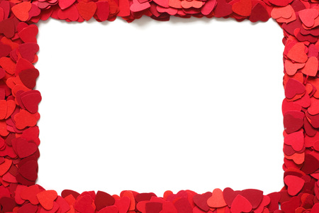 Valentines Day greeting card design element frame of many paper hearts isolated on white background with copy space for text