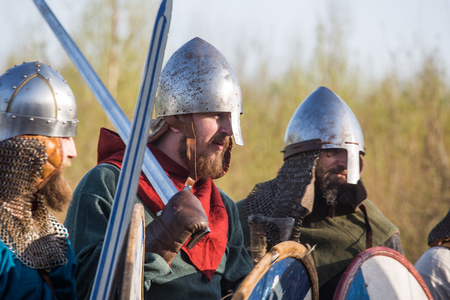 Group of slav warriors in reenactment battle rehearsal training