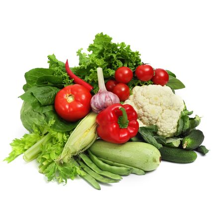 Pile of fresh vegetables isolated on white background 스톡 콘텐츠