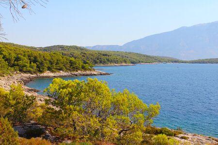 Turquoise sea water of beach ans mountains, Sumartin, Brac island, Croatia