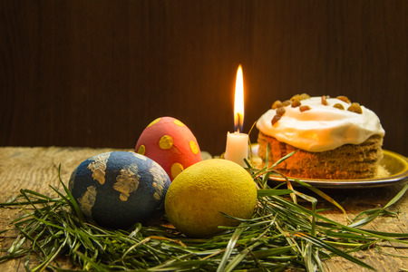 easter candle: Easter treats colorful eggs food candle