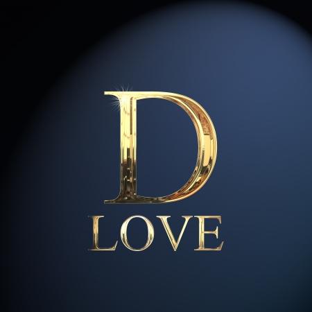carta de amor: Oro alfabeto letra D la palabra amor en un fondo azul