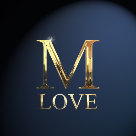 Gold Alphabet Letter M Word Love On A Blue Background Stock Photo Picture And Royalty Free Image Image 14063040