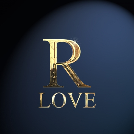 Gold alphabet letter R word love on a blue background Stock Photo - 14063038