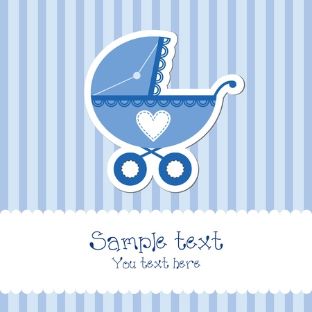 editable invitation: Baby boy card with carriage Illustration