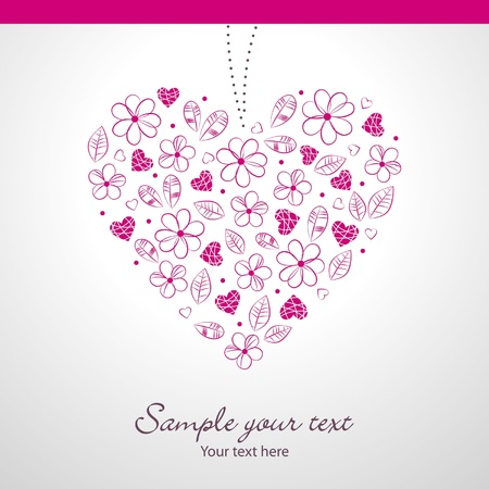 Beauty wedding day card with heart Stock Vector - 12990456