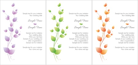 Color wedding invitation branch set Illustration
