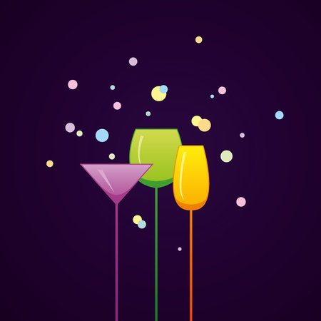 Bright cocktail party invitation with glasses