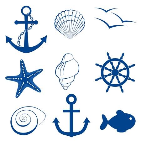 ancre marine: Mer jeu d'icônes d'ancrage, la coquille, l'oiseau, étoiles de mer, la roue