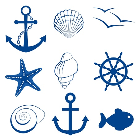 Sea icon set anchor, shell, bird, starfish, wheel