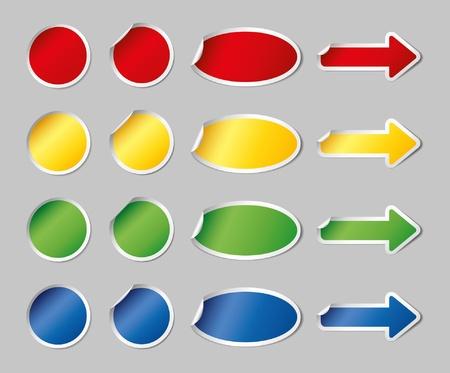 色とりどりのステッカー セット  イラスト・ベクター素材
