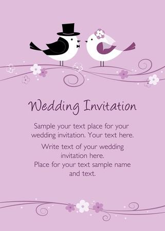 Purple wedding invitation with birds
