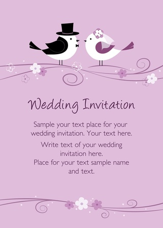 Purple wedding invitation with birds