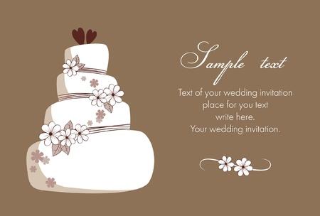 bröllop: Bröllopsinbjudan med tårta Illustration