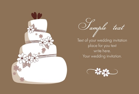 Wedding invitation with cake Illustration