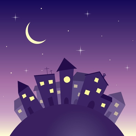 town modern home: Cartoon night city background Illustration