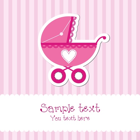 Bright baby girl card Stock Vector - 13404120