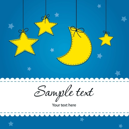 Bright Baby Boy Arrival Card Vector