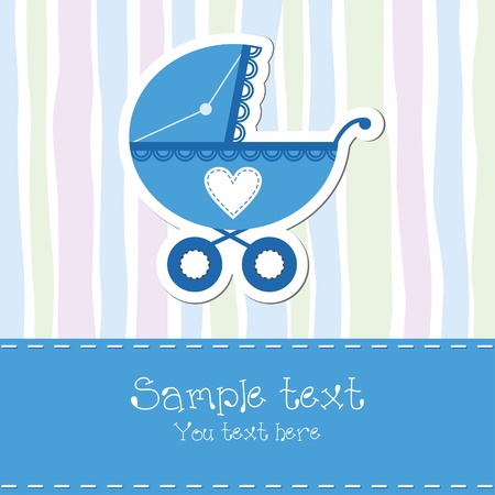 Baby boy shower card Illustration