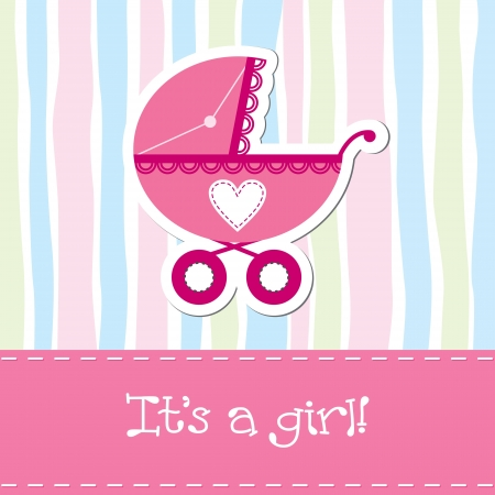 Baby girl shower card Stock Vector - 13718640
