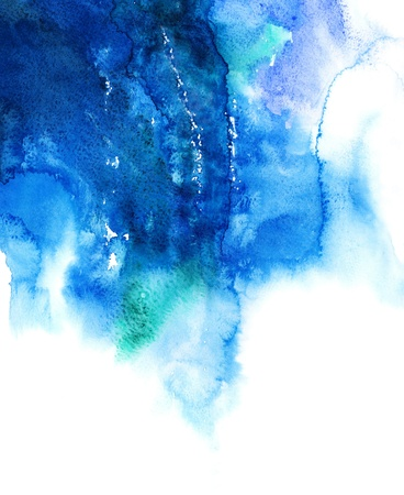 Blue watercolor abstract hand painted background