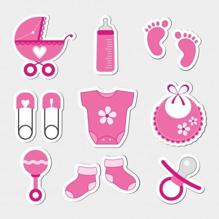 赤ちゃんの女の子のデザインのアイコン  イラスト・ベクター素材