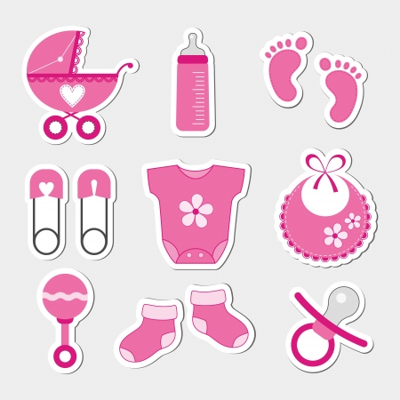 girls feet: Baby girl design icons