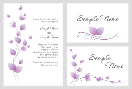 紫色の葉での結婚式の招待状