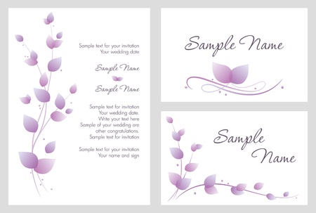 Wedding invitation with purple leaves Vector