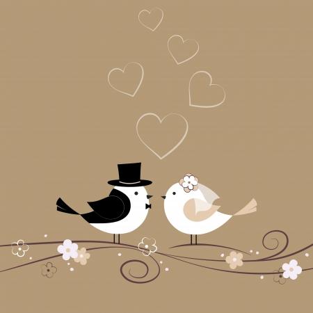 svatba: Svatební karta s ptáky