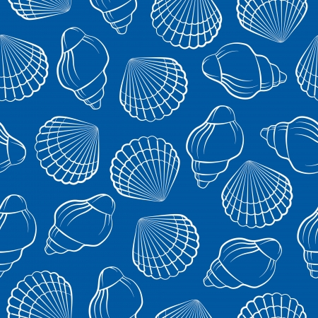 cockleshell: Sea shell seamless pattern Illustration