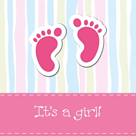 foot prints: Baby girl arrival card shower invitation