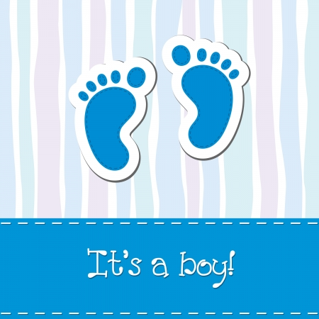 boy feet: Baby boy arrival card shower invitation