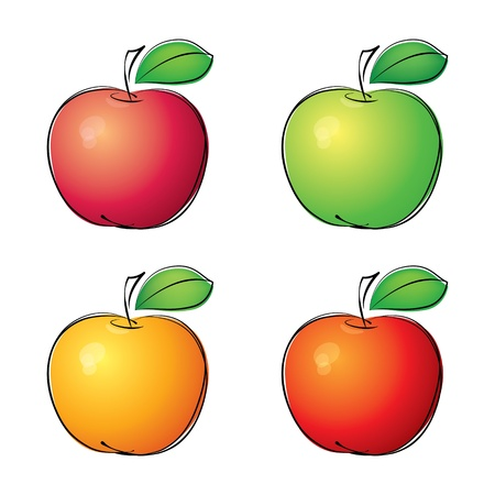 Apple icons set fruit Vector
