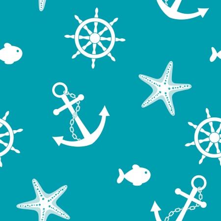 Sea seamless background with anchor, wheel, fish, starfish
