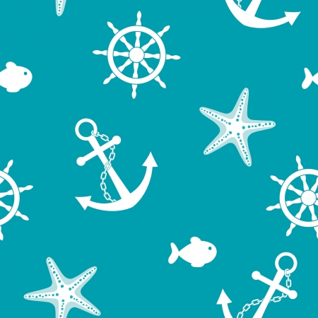 Sea seamless background with anchor, wheel, fish, starfish