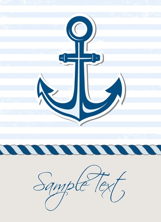 Sea background with anchor Ilustrace