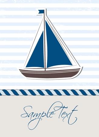 船と海の背景  イラスト・ベクター素材