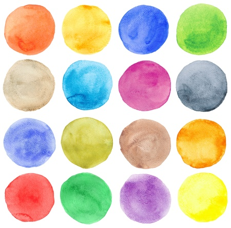 vivid colors: Watercolor hand painted circles set