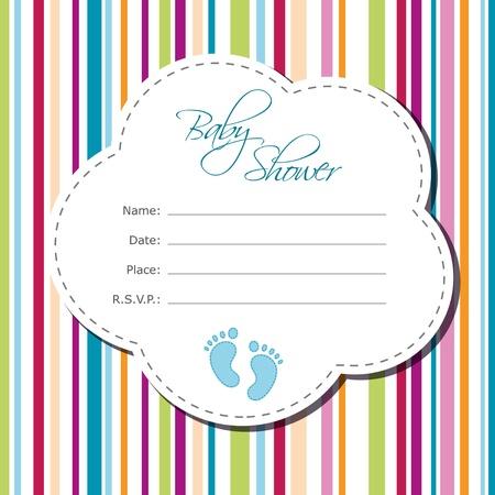 赤ちゃん男の子シャワー カード  イラスト・ベクター素材