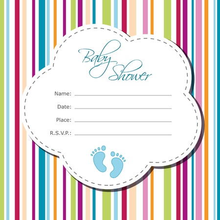 Baby boy shower card Vectores