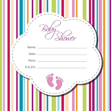 Baby girl shower card Illustration