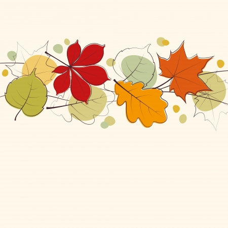 Autumn leaves card background Vector