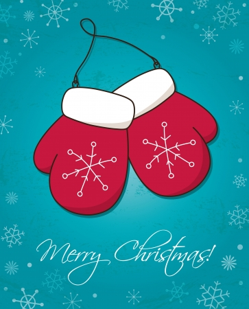 Christmas and New Year card wiht mittens Vector