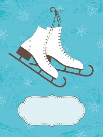 Retro Christmas card with ice skates Stock Vector - 15978619