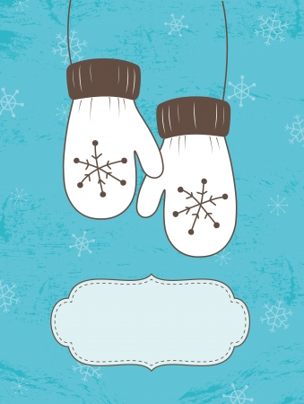 Retro Christmas card with mittens
