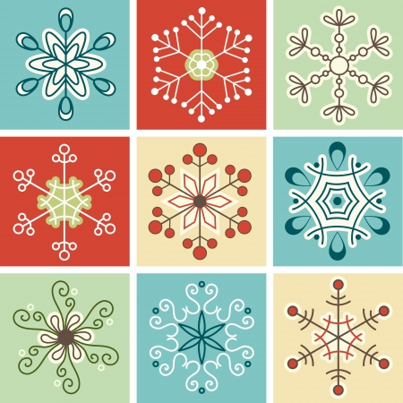 Retro snowflakes, Christmas decoration Vector